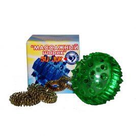 Массажный шарик с двумя массажными кольцами в коробочке Су Джок
